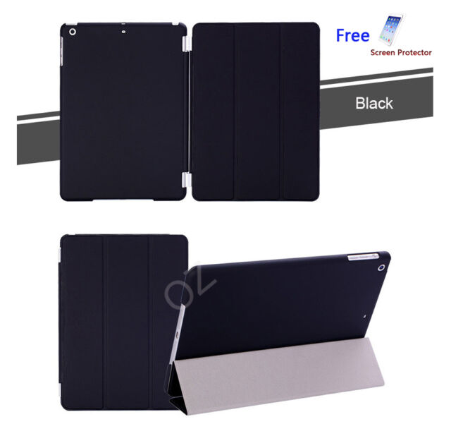 Black Pu Leather Smart Cover and Hard Back Case for Apple iPad Air iPad 5
