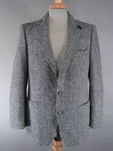Jacket Suede Grey Tweed Pure 40 Handwoven Trimmed Wool Harris Inch Classic R8FwqA