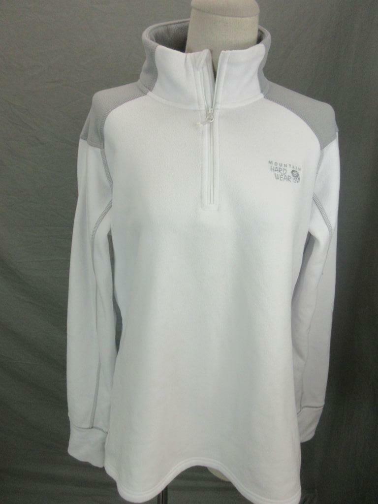 Mountain Hardwear Size L Womens Gray Athletic 1/4 Zip Fleece Pullover Shirt T456