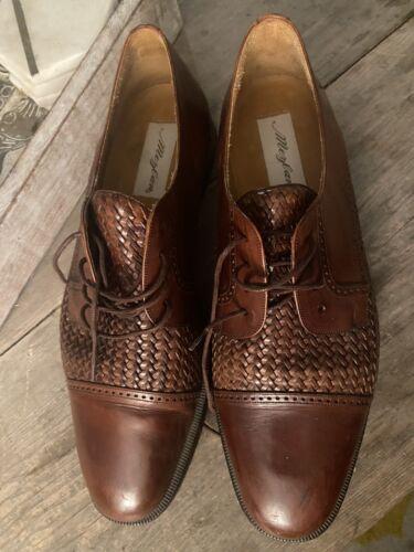 SZ 11.5 Mezlan Brown Woven Leather Mens Cap Toe Ox