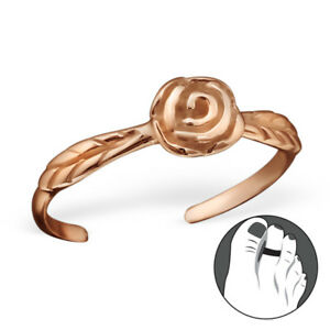 TJS 925 Sterling Silver Toe Ring Band of Flowers Adjustable Rose Gold Plated Toe Rings