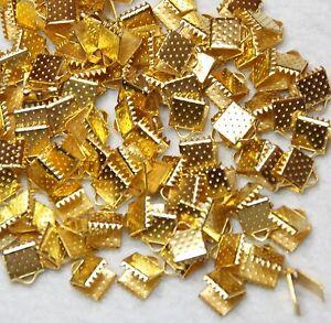 RIBBON ENDS  100  GOLD  COLOUR 8 x 6mm BBF1027 - Hoddesdon, United Kingdom - RIBBON ENDS  100  GOLD  COLOUR 8 x 6mm BBF1027 - Hoddesdon, United Kingdom