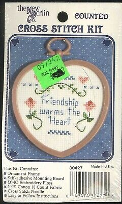 """Hand Crafted Counted Cross Stitch """"Friendship Warms the Heart/"""" Xmas Ornament"""
