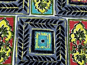 SALE! Mid Century Kaleidoscope Barkcloth Vintage Fabric Unused Remnant 1950's