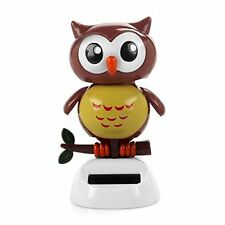 Solar Powered Dancing bird Big Eye Brown Owl,Novelty Desk Car Toy Ornament L6