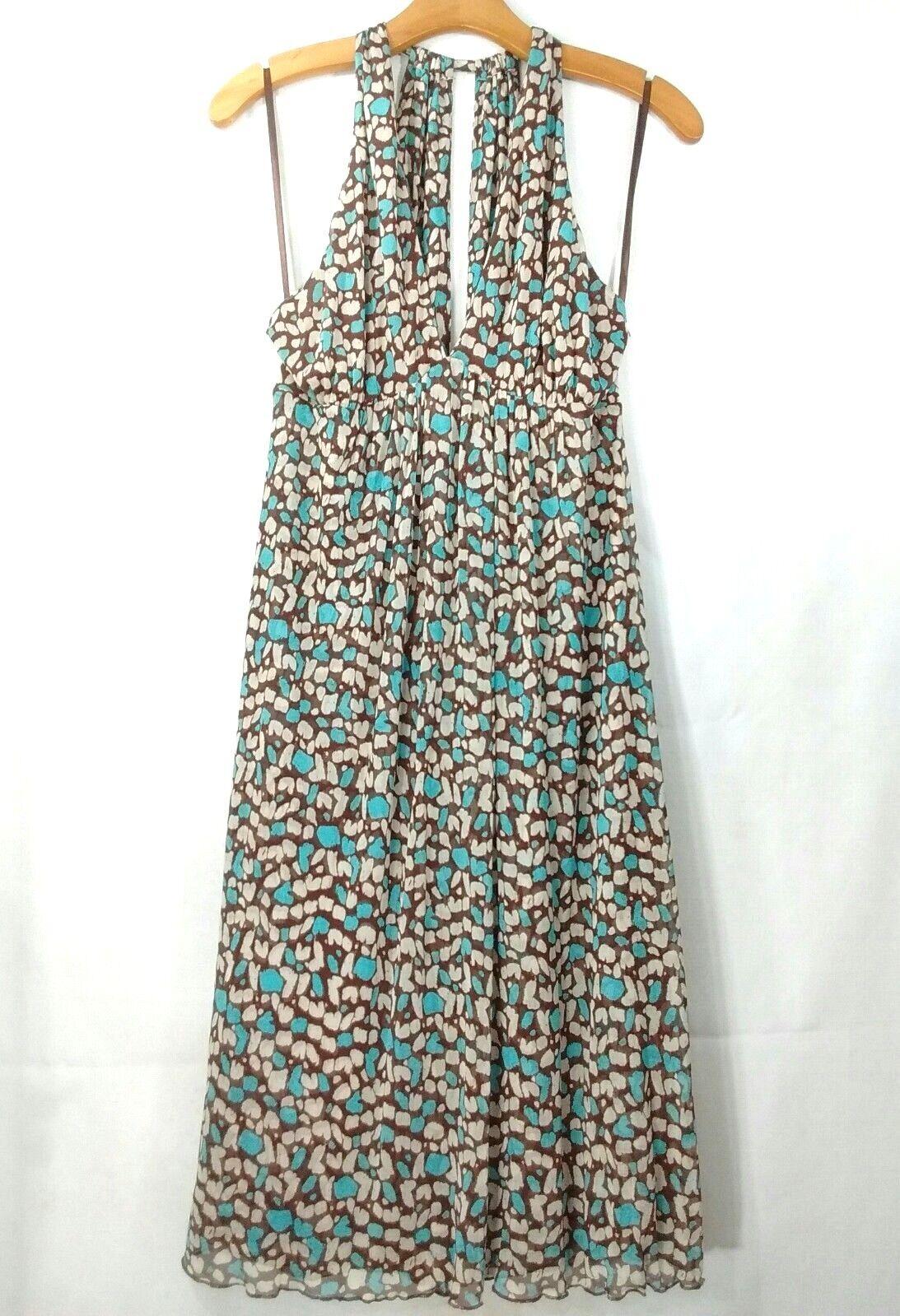 8bc0aa1a579c Diane Von Furstenburg Halter Dress Brown Turquoise Sheer 100% Silk Women  Size 10