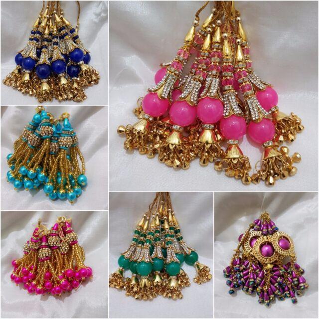 1 Gold//Color Latkan Dangles Tassel Saree Sari Blouse Dupatta Bridal Suit Latkans