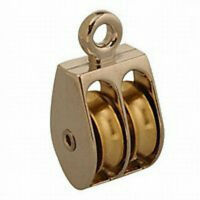 (2) Campbell Chain Rope Pulley Rigid Eye Double Sheave Nickel 1 - 55 Lbs