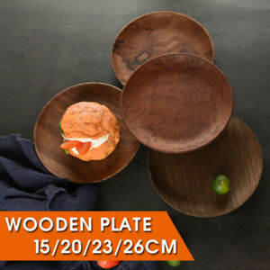 Round-Wood-Plate-Natural-Wooden-Dish-Tray-Meal-Fruit-Bread-Snack-Serving-Platter