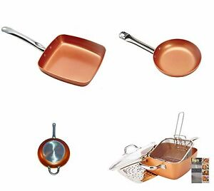 Copper-Frying-Pan-Ceramic-NonStick-Fry-Skillet-Cookware-Chef-Induction-Base-New
