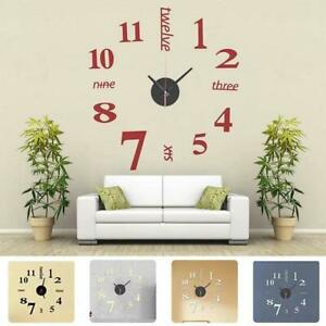 Grosse-Wanduhr-Big-Uhr-Aufkleber-3D-Aufkleber-Roemische-Ziffern-Diy-Wand-Mode-H2B9