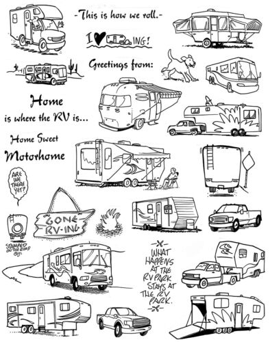 Camping Vacation Campers Unmounted Rubber Stamp Sheets RV Stamps Motorhome