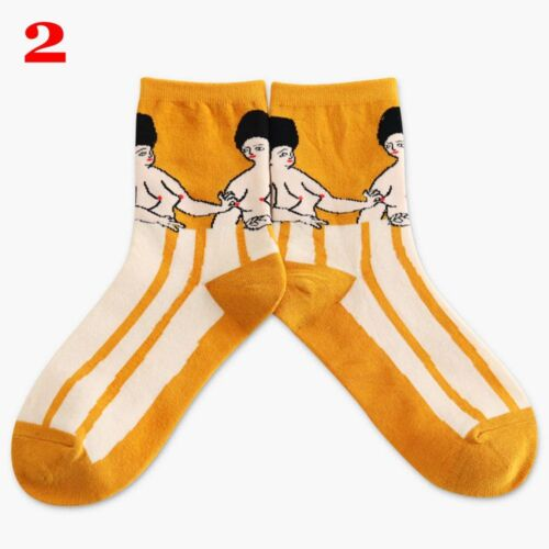 Socks Ankle Hosiery  Painting Art Novelty Starry Night Vintage Retro Cotton