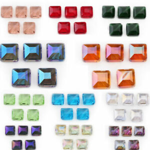 10pcs 14mm Flat Square Faceted Glass Crystal Loose Beads Jewelry DIY Findings#G