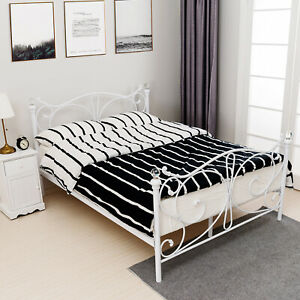 4ft6 Crystal Double Metal Bed Frame Bedstead Finials For