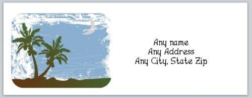 Personalized Return Address Labels Beach Palm Tree Buy 3 Get 1 free c 695