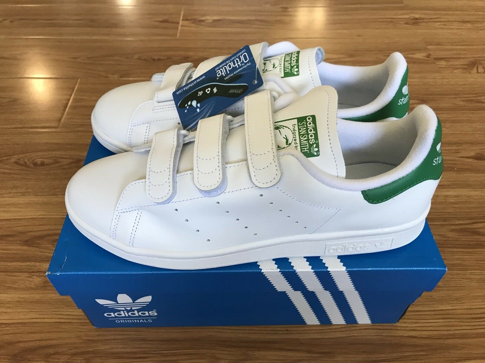 meet 8e67b 18776 Brand New Adidas Originals Stan Smith CF CF CF White Green S75187 Size US  9.5