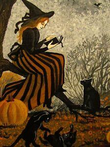 1.5x2 DOLLHOUSE MINIATURE PRINT OF PAINTING RYTA 1:12 SCALE HALLOWEEN BLACK CAT