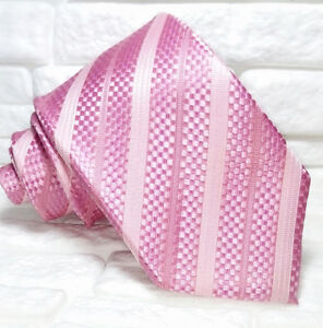Acheter Pas Cher Cravatta Uomo Rosa Regimental Design Top Quality NovitÀ Made In Italy 100% Seta Construction Robuste