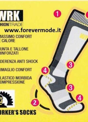 3 Paia di Calzini calze uomo WORK lunghe in spugna anti infortunistica art 1915