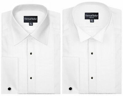 "19 /"" Poly-cotton Pleated WING Colletto Camicia Abito"