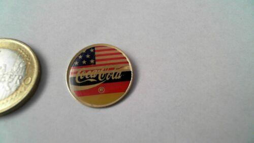 Coca Cola Pin Badge USA Germany Deutschland Freunschaft Flagge rund