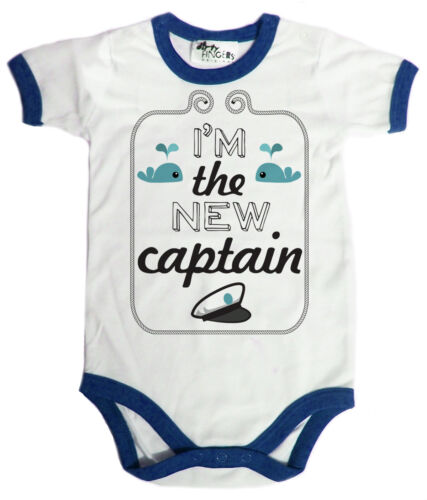 "Funny Baby Bodysuit /""I/'m the New Captain/"" Babygrow Sailor Boat Sea Cadet Gift"