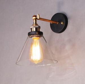 Retro Wandleuchte Wandlampe Metall+Glas E27 Edison Lampe Vintage Loft Antik-Stil