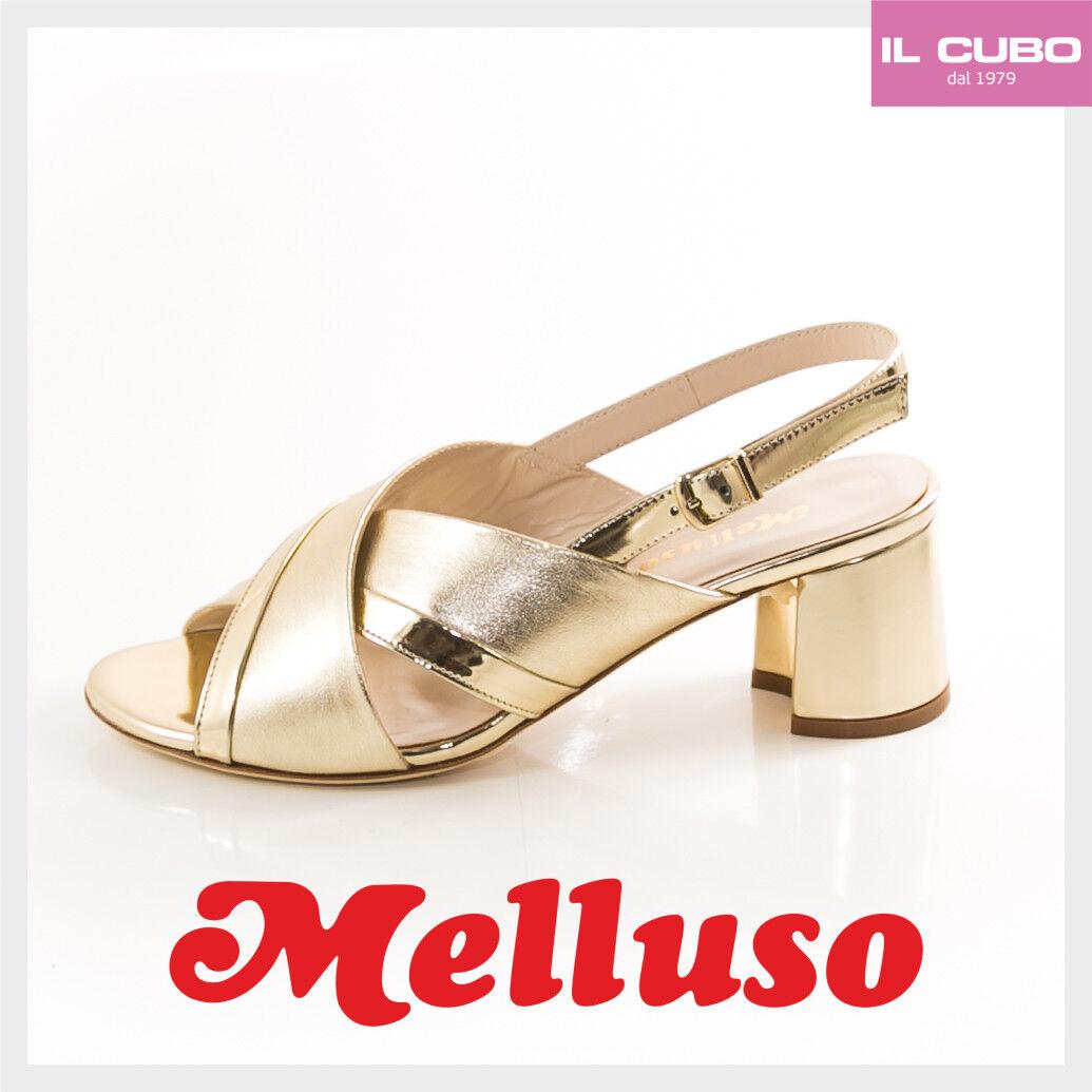 MELLUSO 6 SANDALO SCARPA DONNA PELLE COLORE PLATINO TACCO H 6 MELLUSO CM MADE IN ITALY 384df3