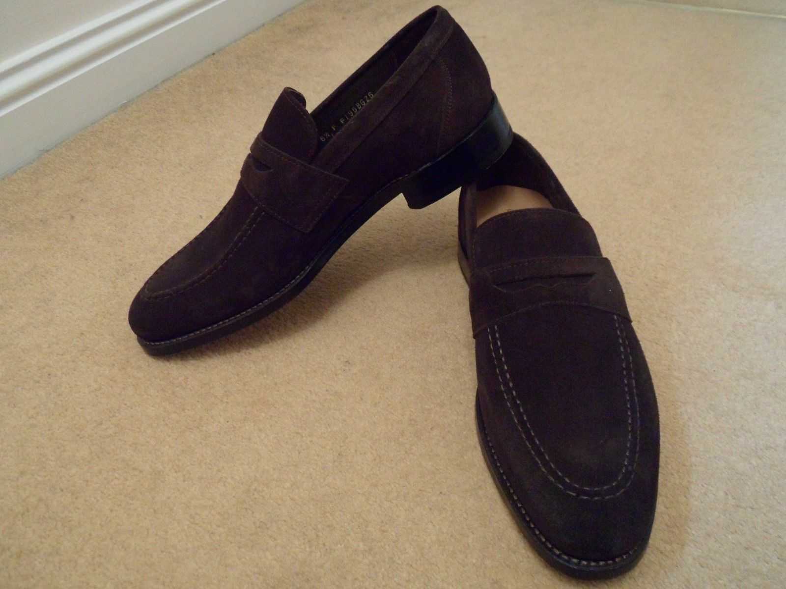Mens BROWN SUEDE PENNY SLIP ON LOAFER SHOES Mens Handmade Loafers