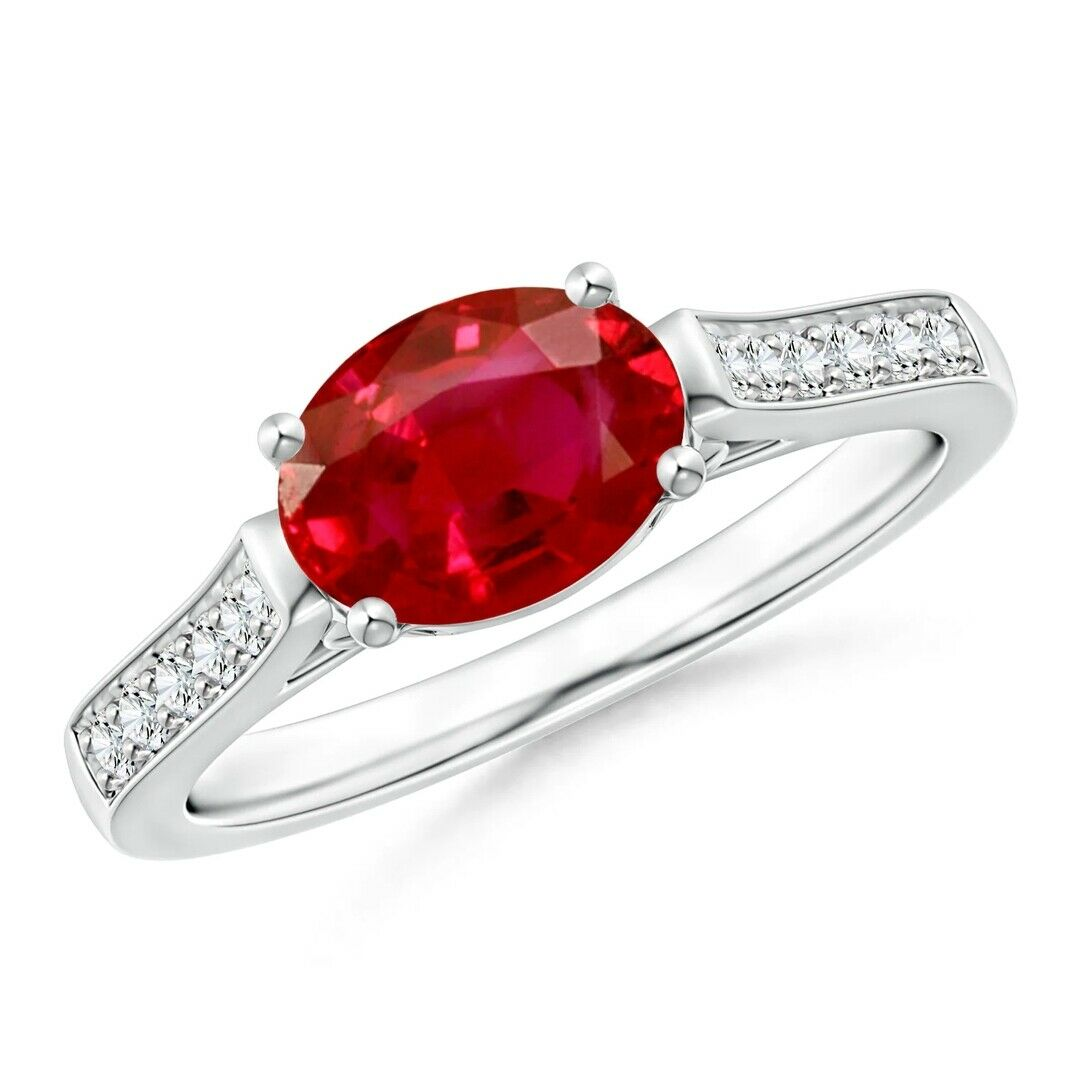 14k White gold Natural Full Cut Diamond Ruby Anniversary & Engagement Ring