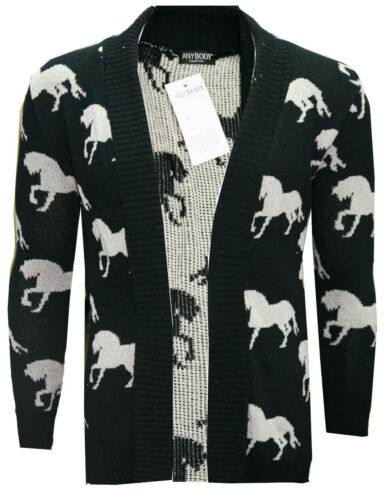 New Womens Ladies Horse Print Knitted Long Sleeve Jumper Open Cardigan S M L XL