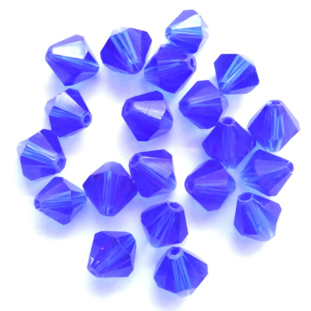 40 Quality Crystal Glass 8mm Sapphire Bicone Beads
