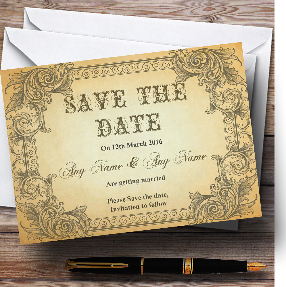 Typography Vintage Vintage Vintage braun Postcard Personalised Wedding Save The Date Cards e9ab4e