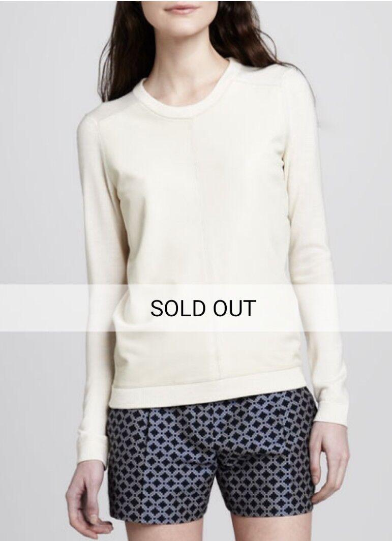 Theory Leather-Front Yulia Sweater White sz M EUC