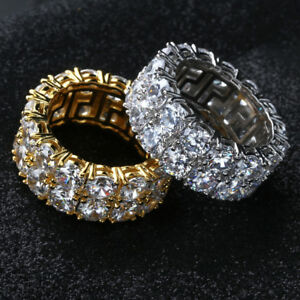 Mens-Hip-Hop-Ring-14K-Gold-Silver-Plated-Iced-Out-CZ-Lab-Wedding-Bling-Rings