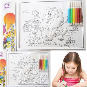 Kids-3D-Colouring-Activity-Poster-Art-Drawing-Sketch-Pen-Fun-Creative-Wall-Mount