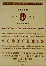 1940 Palestine ORCHESTRA Concert PROGRAM FLYER Israel CONDUCTORS SOLOISTS PIECES