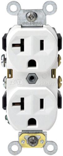 LEVITON Duplex Receptacle Self Ground 2 Pole 20 Amps 5-20R White 0CR20-0WS NEW