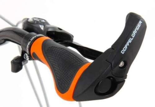 DOPPELGANGER Ergonomic Bar End Grip for Bike Soft Rubber DGR163-BK Black //Orange