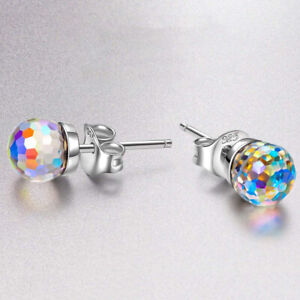 Details About Anium Earring Studs Shire Ab Aurora Borealis Made With Swarovski Crystals