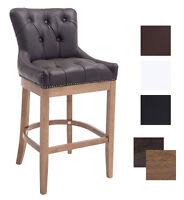 Stool Leather Effect Walnut Wood Bar Stool Comfortable
