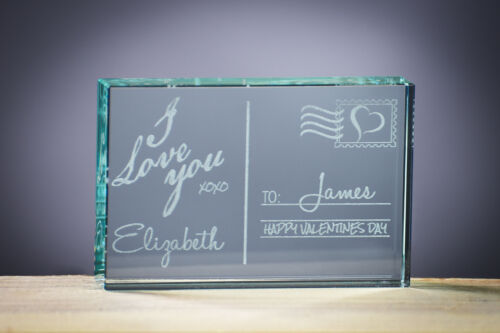 GLASS BLOCK ANNIVERSARY GIFT PERSONALISED GIFTS LOVE GIFT VALENTINES GIFT...
