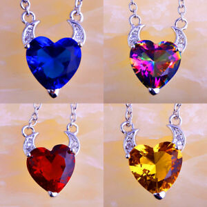 Fashion-Ruby-Spinel-amp-Emerald-amp-Morganite-Gemstone-Heart-Silver-Pendant-Necklace