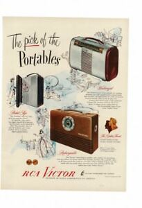 Details about VINTAGE 1947 RCA VICTOR TRANSISTOR RADIO WEATHERIZE  RECHARGEABLE POCKET AD PRINT