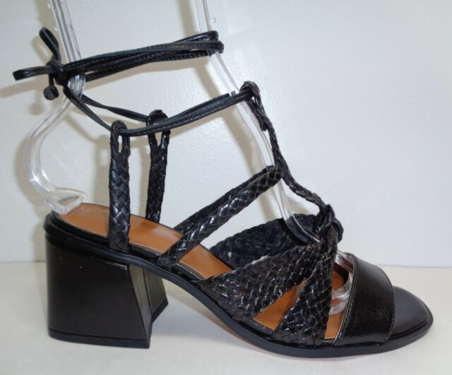 2049836544704a H by Halston Size 7.5 PIPER Black Leather Braided Heels Sandals New Womens  Shoes