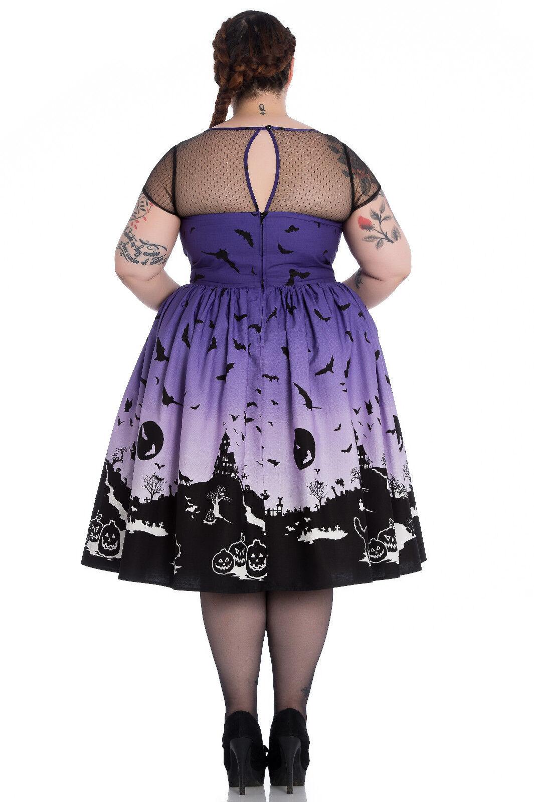 Hell Bunny Plus Size Purple Halloween Haunt Gothic Retro Retro Retro 50's Dress 1X 2X 3X 720326