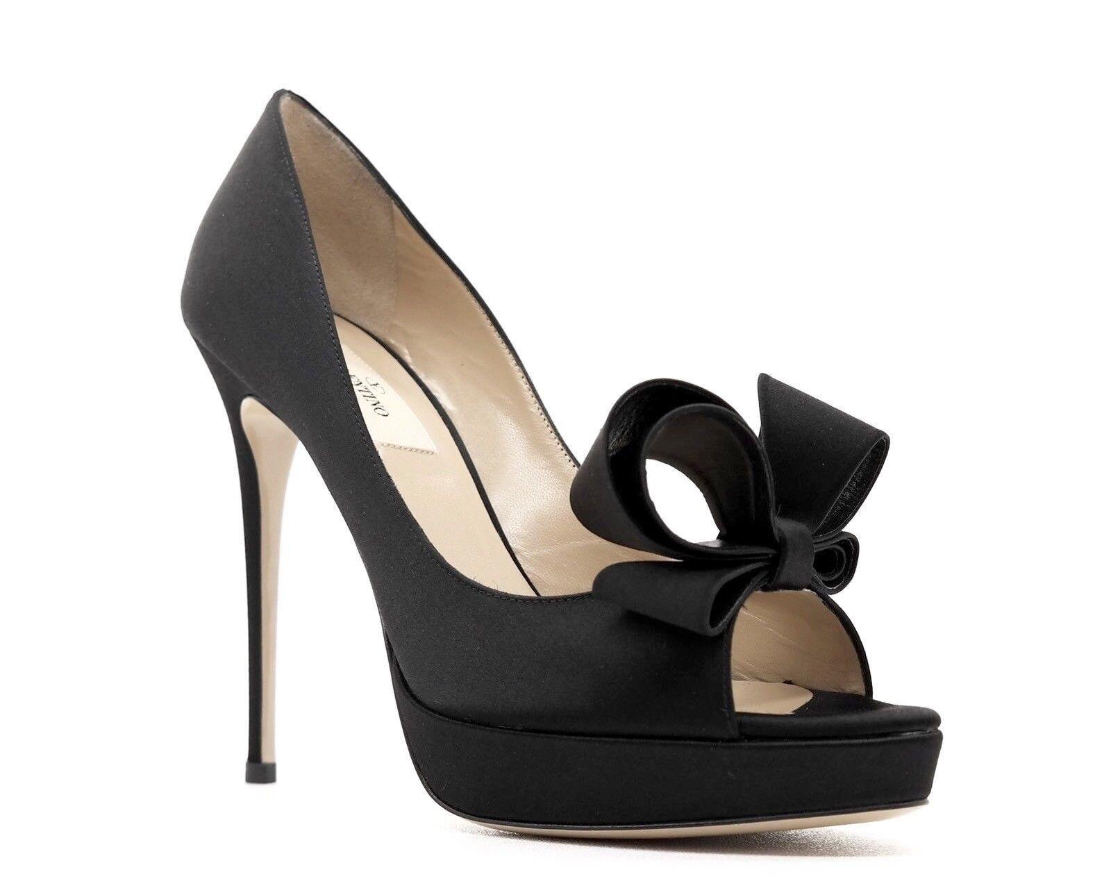 Valentino Garavani Pumps Couture Bow Black Satin Size 9.5 39.5 New