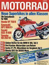 Motorrad 17 85 1985 Bimota SB 5 Cagiva Alazzurra 350 Honda CB500TT Yamaha SR 500