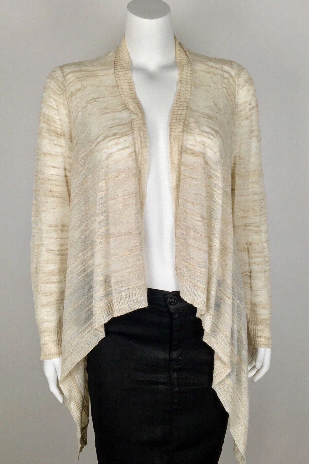 Lafayette 148 Women's Cardigan Open Front High Low Linen Blend Medium Beige